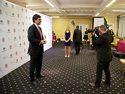 CARDIFF, WALES - Monday, October 5, 2015: Wales' Manager Chris Coleman is photographed with his Media Choice Award during the FAW Awards Dinner at Cardiff City Hall. (Pic by David Rawcliffe/Propaganda)