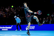Andy Murray leaps to hit a backhand during the Andy Murray Live event at SSE Hydro, Glasgow, Scotland on 7 November 2017. Photo by Craig Doyle.