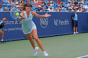Maria Sharapova (RUS) hits a forehand to Ashleigh Barty (AUS)during the Western and Southern Open tennis tournament at Lindner Family Tennis Center, Wednesday, Aug 14, 2019, in Mason, OH. (Jason Whitman/Image of Sport)
