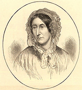 Mary Somerville (born Fairfax) (1780-1872), Scottish scientific writer, born in Jedburgh.  After she was widowed in 1807she had the opportunity to study mathematics and astronomy and her second husband, whom she married in 1812, encouraged her intellectual pursuits.  Her translation of 'Mecanique Celeste' by Pierre Laplace, published as 'The Mechanism of the Heavens' (1831) brought her fame.  Shw supported female education and emancipation, and Somerville College, Oxford University, was named for her (1879).  Engraving from 'The Illustrated  London News' (London, 14 December 1872).