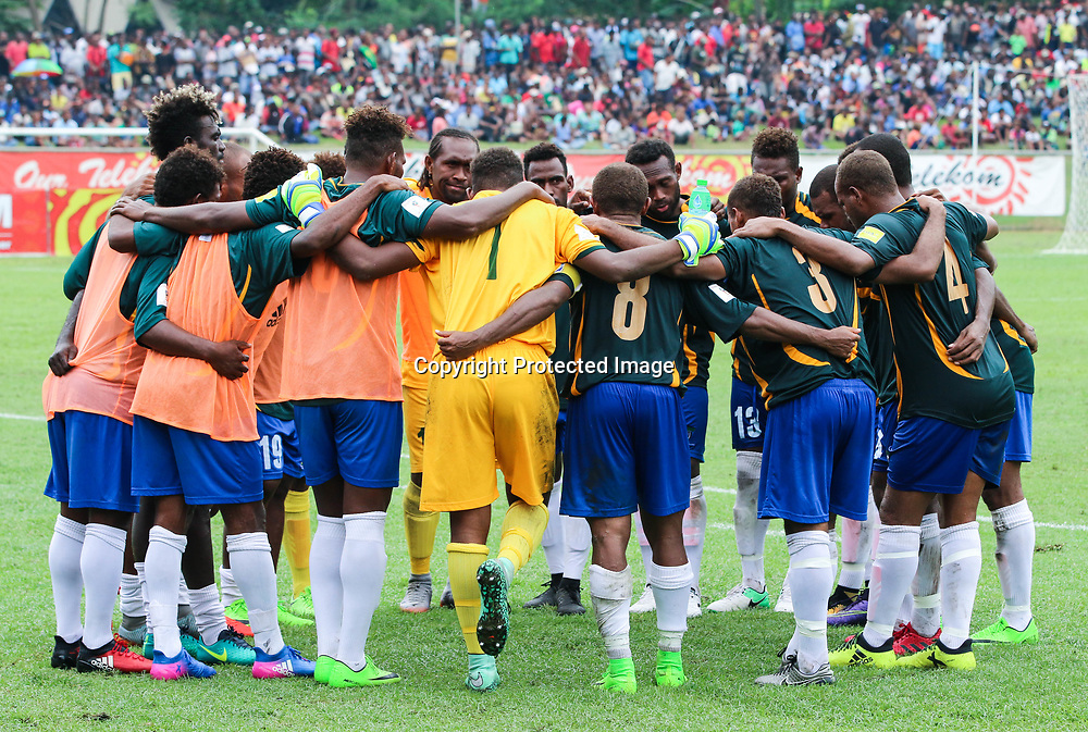 Solomon Islands squad in a team huddle.<br /> Fifa World Cup Qualifier, Solomon Islands v New Zealand All Whites, Lawson Tama Stadium, Honiara, Solomon Islands, 5 September 2017. Photo: OFC Media / www.photosport.nz
