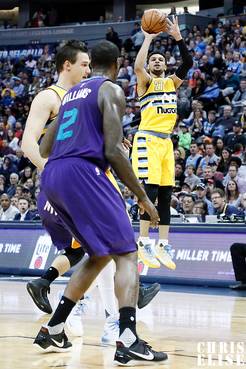 04 March 2017: Denver Nuggets guard Jamal Murray (27) takes a jump shot during the Charlotte Hornets 112-102 victory over the Denver Nuggets, at the Pepsi Center, Denver, Colorado, USA.