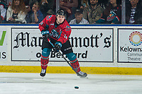 KELOWNA, CANADA - MARCH 16:  Kyle Topping #24 of the Kelowna Rockets passes the puck against the Vancouver Giants on March 16, 2019 at Prospera Place in Kelowna, British Columbia, Canada.  (Photo by Marissa Baecker/Shoot the Breeze)