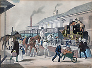 The Last of the Coaches'.  The Royal Mail coach service, begun in the 1780s, flourished until the coming of the railways in 1830.  It was not long before mail was being carried by the cheaper and faster railway and the coaches were phased out. This picture shows the London to Louth, Lincolnshire, coach being loaded onto the railway and the four horses which would have drawn it being taken away.  (c1845). Lithograph.