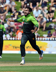 Pakistan's Faheem Ashraf celebrates the caught behind of New Zealand's Tom Latham for 2 in the fifth one day International Cricket match, Basin Reserve, Wellington, New Zealand, Friday, January 19, 2018