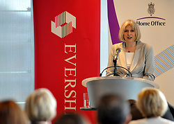 © licensed to London News Pictures. LONDON. UK  14/09/11. Theresa May. Home Secretary and Minister for Women and Equalities, Theresa May, launches 'Voluntary Gender Equality Analysis and Reporting' guidance for employers at Eversheds law firm in Central London today (14 Sept 2011). Photo credit should read Stephen SImpson/LNP