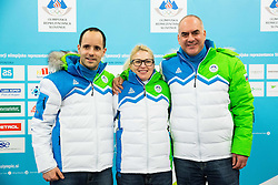 Matic Svab, Nina Jovan and Ziga Dobnikar during presentation of Slovenian Young Athletes before departure to EYOF (European Youth Olympic Festival) in Vorarlberg and Liechtenstein, on January 21, 2015 in Bled, Slovenia. Photo by Vid Ponikvar / Sportida