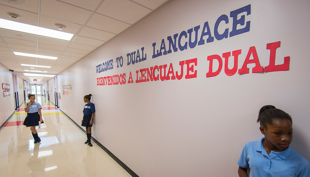 Students prepare for a tour during a dedication ceremony at Dogan Elementary School, September 29, 2014.
