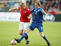 Fotball ,  06. september 2008 , VM-kvalifisering<br /> Norge - Island 2-2<br /> Norway - Island 2-2<br /> John Arne Riise , Norge mot Birkir Mar Sævarsson , Island og Island