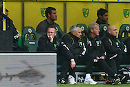 Picture by Paul Chesterton/Focus Images Ltd.  07904 640267.28/04/12.Norwich Manager Paul Lambert can't bear to watch during the Barclays Premier League match at Carrow Road Stadium, Norwich.