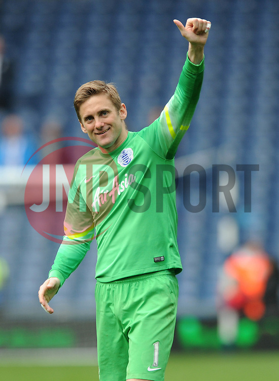 Queens Park Rangers' Robert Green smiles as he applauds the away fans support after a win against West Bromwich Albion - Photo mandatory by-line: Dougie Allward/JMP - Mobile: 07966 386802 - 04/04/2015 - SPORT - Football - West Bromwich - The Hawthorns - West Bromwich Albion v QPR - Barclays Premier League