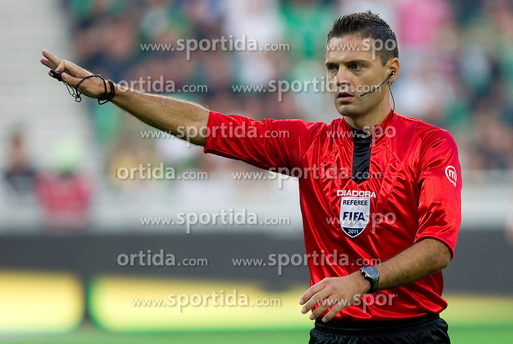 Referee Damir Skomina during football match between NK Olimpija Ljubljana and NK Maribor of 7th Round of PrvaLiga, on August 28, 2011, in SRC Stozice, Ljubljana, Slovenia. (Photo by Vid Ponikvar / Sportida)