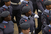 Young people with the Royal Air Force's Air Training Corps (ATC) parade wearing poppies during the annual Lord Mayor's Show. The Air Training Corps (ATC), commonly known as the Air Cadets, is a cadet organisation based in the United Kingdom. It is a voluntary youth group which is part of the Air Cadet Organisation (ACO) and the Royal Air Force (RAF). The ATC has around 35,000 cadets, aged between 13 to 21 years, within 1009 Squadrons. Its cadets are supported by a network of around 10,000 volunteer staff and around 5,000 civilian committee members.