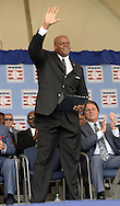 COOPERSTOWN, NY - JULY 27:  2014 Baseball Hall of Famer inductee Frank Thomas acknowledges family and friends prior to the 2014 induction ceremonies held at the Clark Sports Center in Cooperstown, New York on July 27 2014.