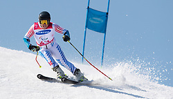 March 14, 2018 - Pyeongchang, South Korea - Connor Hogan of the US during Giant Slalom competition Wednesday, March 14, 2018 at the Jeongson Alpine Center at the Pyeongchang Winter Paralympic Games. Photo by Mark Reis (Credit Image: © Mark Reis via ZUMA Wire)