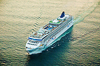 Aerial view of NCL Cruise Ship leaving Bar Harbor Maine at Sunset.