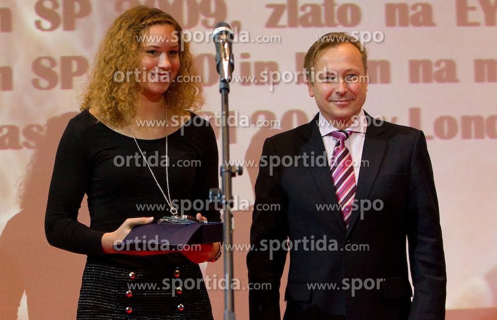 Barbara Spiler and Dr. Peter Kukovica during the Slovenia's Athlete of the year award ceremony by Slovenian Athletics Federation AZS, on November 12, 2008 in Hotel Mons, Ljubljana, Slovenia.(Photo By Vid Ponikvar / Sportida.com) , on November 12, 2010.