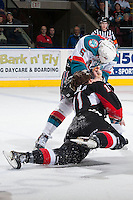 KELOWNA, CANADA -FEBRUARY 25: Dalton Yorke #5 of the Kelowna Rockets drops the gloves with Aaron Macklin #11 of the Prince George Cougars on February 25, 2014 at Prospera Place in Kelowna, British Columbia, Canada.   (Photo by Marissa Baecker/Getty Images)  *** Local Caption *** Dalton Yorke; Aaron Macklin;