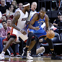 16 March 2011: Miami Heat small forward LeBron James (6) defends on Oklahoma City Thunder small forward Kevin Durant (35) during the Oklahoma City Thunder 96-85 victory over the Miami Heat at the AmericanAirlines Arena, Miami, Florida, USA.