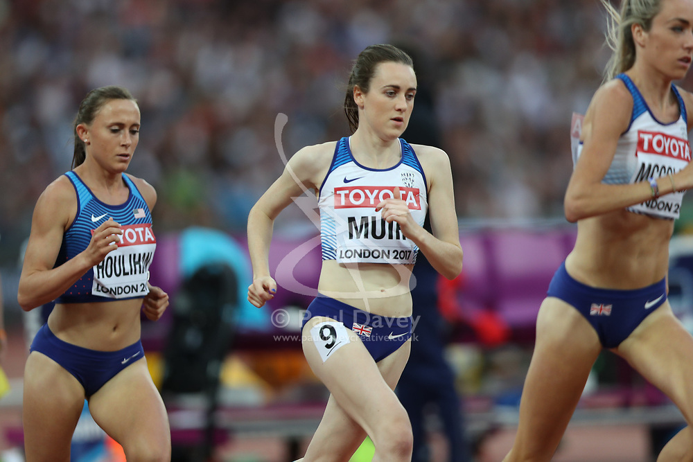 London, August 13 2017 . Eilish McColgan, Great Britain, leads Laura Muir, Great Britain, and Shelby Houlihan, USA, in the women's 5000m final on day ten of the IAAF London 2017 world Championships at the London Stadium. © Paul Davey.