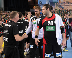 11.03.2016, Leipzig, GER, Handball Länderspiel, Deutschland vs Katar, Herren, im Bild Andreas Wolff (GER #33) und Evgeni Pevnov (GER #28) // during the men's Handball international Friendlies between Germany and Qatar in Leipzig, Germany on 2016/03/11. EXPA Pictures © 2016, PhotoCredit: EXPA/ Eibner-Pressefoto/ Modla<br /> <br /> *****ATTENTION - OUT of GER*****