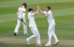 Sussex'sOllie Robinson celebrates the wicket of Somerset's Tom Abell. - Photo mandatory by-line: Harry Trump/JMP - Mobile: 07966 386802 - 06/07/15 - SPORT - CRICKET - LVCC - County Championship Division One - Somerset v Sussex- Day Two - The County Ground, Taunton, England.