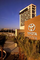 Stock photo of the Toyota Center and Hilton Hotel in downtown Houston, Texas