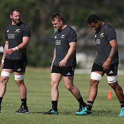 PRETORIA, SOUTH AFRICA - OCTOBER 05: Kieran Read (captain) with Sam Cane and Shannon Frizell of the New Zealand (All Blacks) during the Rugby Championship New Zealand All Blacks captain's run at St David's Marist Inanda 36 Rivonia Rd, Sandown, Sandton,on October 5, 2018 in Pretoria, South Africa. (Photo by Steve Haag/Getty Images)