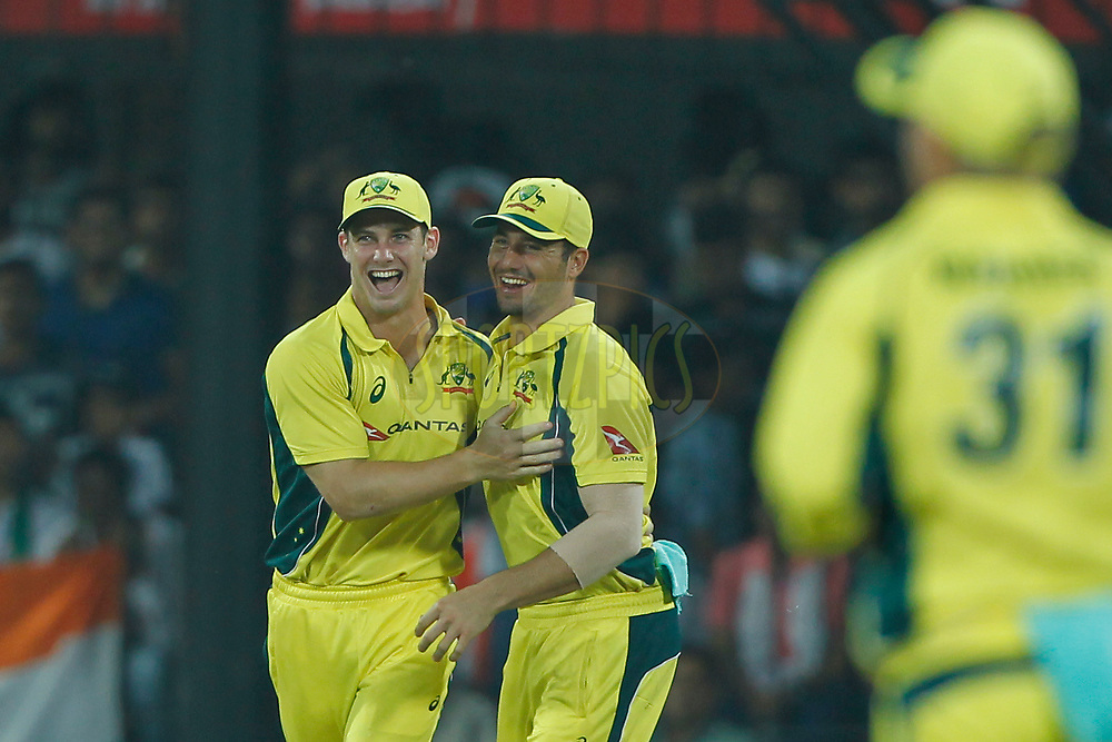 Marcus Stoinis of Australia and Hilton Cartwright of Australia celebrates the wicket of Rohit Sharma of India during the 3rd One Day International between India and Australia held at the Holkar Stadium in Indore on the 24th  September 2017<br /> <br /> Photo by Deepak Malik / BCCI / SPORTZPICS