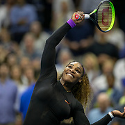 2019 US Open Tennis Tournament- Day Eleven.  Serena Williams of the United States celebrates her victory against Elina Svitolina of the Ukraine hitting balls to the spectators after the Women's Singles Semi-Finals match on Arthur Ashe Stadium during the 2019 US Open Tennis Tournament at the USTA Billie Jean King National Tennis Center on September 5th, 2019 in Flushing, Queens, New York City.  (Photo by Tim Clayton/Corbis via Getty Images)