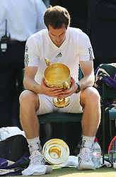 The lid of the trophy drops to the ground after Andy Murray  wins the Men's Final at the Wimbledon Tennis Championships in  London, Sunday, 7th July 2013<br /> Picture by Stephen Lock / i-Images