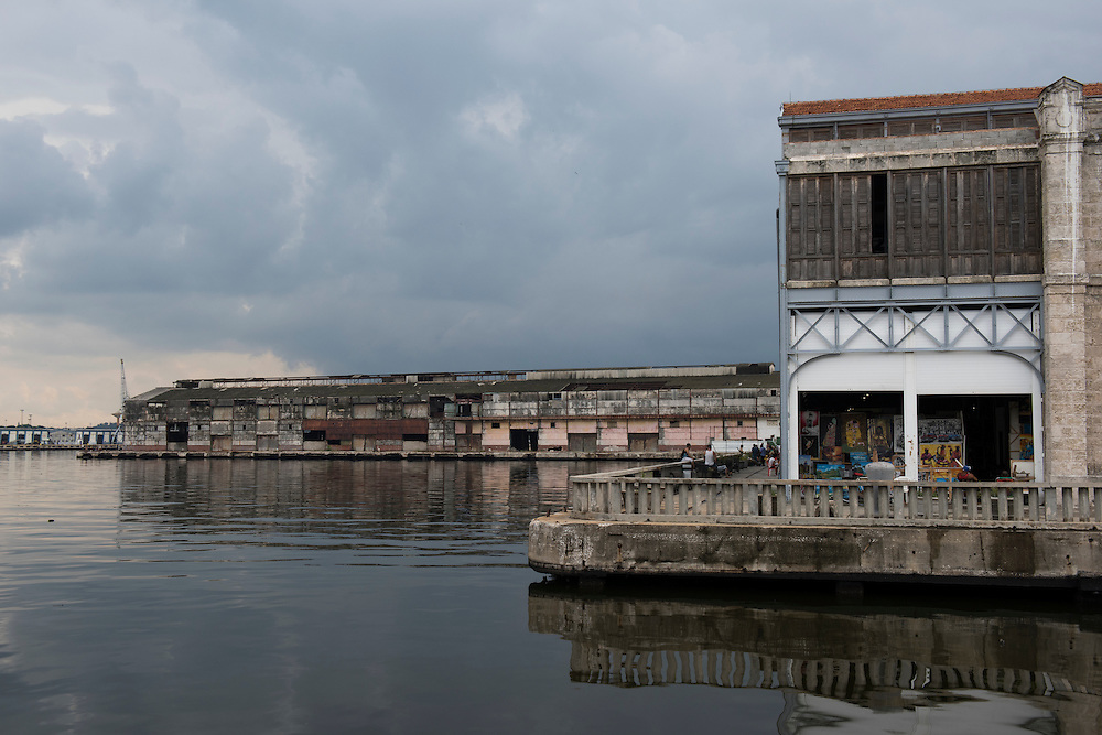 Havana, Cuba - 2015: View of the Almacenes  San Jose, the largest craft market, located in a refurnished section of the old port of Havana.