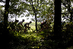 Rozanne Slik & Sabrina Stultiens through the trees at Boels Rental Ladies Tour Stage 2 a 132.8 km road race from Eibergen to Arnhem, Netherlands on August 30, 2017. (Photo by Sean Robinson/Velofocus)
