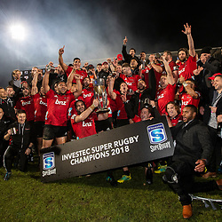 Crusaders celebrate with the trophy following the 2018 Super Rugby final between the Crusaders and Lions at AMI Stadium in Christchurch, New Zealand on Sunday, 29 July 2018. Photo: Joe Johnson / lintottphoto.co.nz