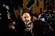 Roma 20 Aprile 2013.Proteste davanti a Montecitorio  del Movimento Cinque Stelle  per la rielezione di Giorgio Napolitano alla Presidenza della Repubblica . Vito Crimi del Movimento 5  Stelle  con i giornalisti