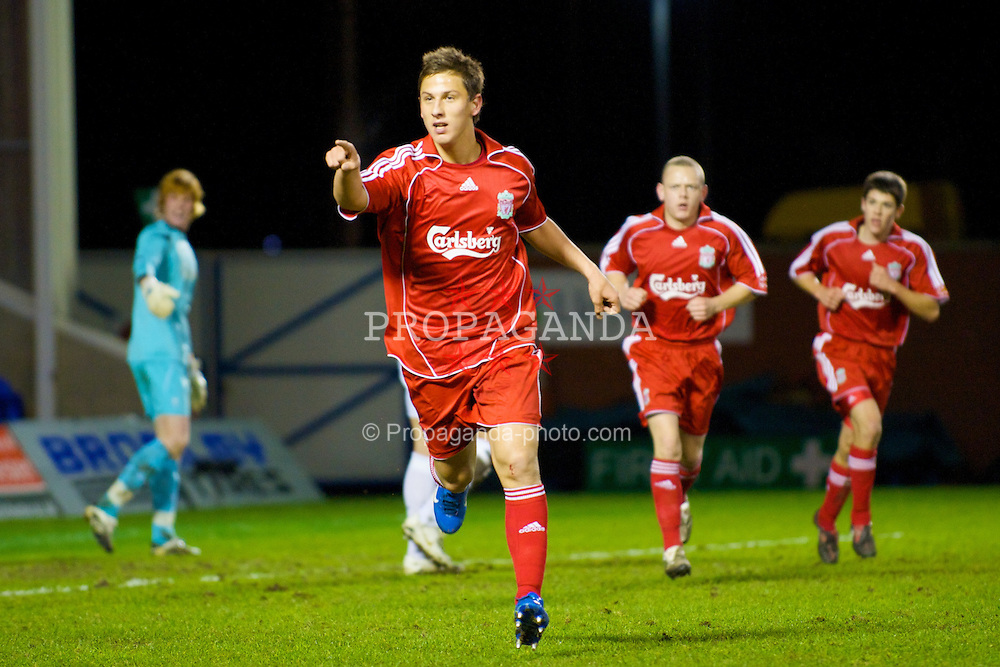 WARRINGTON, ENGLAND - Saturday, March 1, 2008: Liverpool's Krisztian Nemeth celebrates scoring against Bolton Wanderers during the FA Premiership Reserves League (Northern Division) match at the Halliwell Jones Stadium. (Photo by David Rawcliffe/Propaganda)