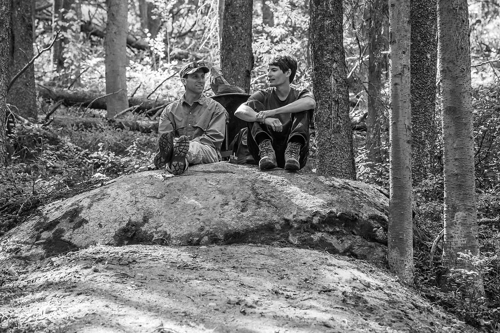 Kevin Kavanagh (Left) and Phil Wettach (Right) taking a break during a Teton Freedom Riders trail building day on the Lithium trail.