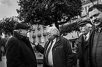 VALLO DELLA LUCANIA (SA) - 4 FEBBRAIO 2018:  Franco Castiello (centro), candidato per il Movimento 5 Stelle alla Camera dei Deputati nelle Elezioni Politiche del 2018, discute durante un incontro a Vallo della Lucania (SA) il 4 febbraio 2018.<br /> <br /> Le elezioni politiche italiane del 2018 per il rinnovo dei due rami del Parlamento – il Senato della Repubblica e la Camera dei deputati – si terranno domenica 4 marzo 2018. Si voterà per l'elezione dei 630 deputati e dei 315 senatori elettivi della XVIII legislatura. Il voto sarà regolamentato dalla legge elettorale italiana del 2017, soprannominata Rosatellum bis, che troverà la sua prima applicazione<br /> <br /> ###<br /> <br /> VALLO DELLA LUCANIA, ITALY - 4 FEBRUARY 2018: Franco Castiello (center), running with the Five Stars Movement (M5S, Movimento 5 Stelle) for a seat in the Chamber of Deputies in the 2018 Italian General Elections, speaks during a rally in Vallo della Lucania, Italy, on February 4th 2018.<br /> <br /> The 2018 Italian general election is due to be held on 4 March 2018 after the Italian Parliament was dissolved by President Sergio Mattarella on 28 December 2017.<br /> Voters will elect the 630 members of the Chamber of Deputies and the 315 elective members of the Senate of the Republic for the 18th legislature of the Republic of Italy, since 1948.
