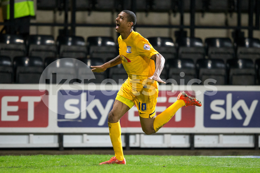 Preston North End's Jermaine Beckford celebrates his second and Preston's Third of the night during the Sky Bet League 1 match between Notts County and Preston North End at Meadow Lane, Nottingham, England on 21 April 2015. Photo by James Williamson.