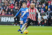 Sheffield United forward David McGoldrick (17)in action during the EFL Sky Bet Championship match between Sheffield United and Bolton Wanderers at Bramall Lane, Sheffield, England on 2 February 2019.