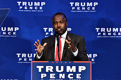 Former candidate Dr. BEN CARSON gives a speech during an health care policy event with Republican presidential candidate Donald Trump and Mike Pence, Vice-presidential candidate for the Republican Party,  in King of Prussia, PA., in the Philadelphia Suburbs, on November 1, 2016