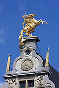 Belgium, Antwerp Statue of George and the Dragon in the grote markt