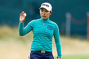 Mamiko Higa acknowledges the crowd after finishing her round during the Ricoh Women's British Open golf tournament at Royal Lytham and St Annes Golf Club, Lytham Saint Annes, United Kingdom on 3 August 2018. Picture by Simon Davies.