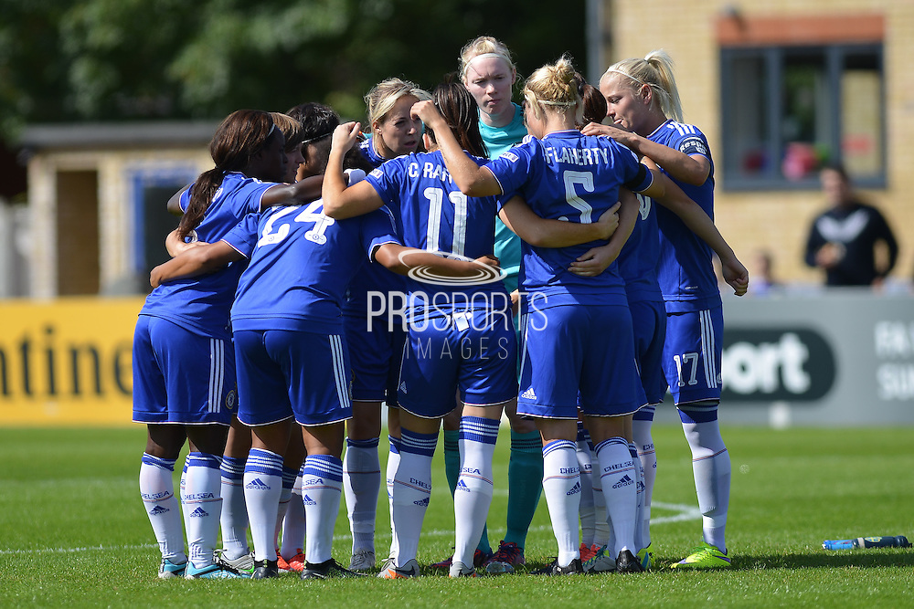 Chelsea Ladies in huddle before the FA Women's Super League match between Chelsea Ladies FC and Notts County Ladies FC at Staines Town FC, Staines, United Kingdom on 6 September 2015. Photo by Mark Davies.
