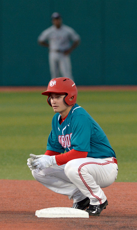 gbs041317k/SPORTS --  UNM's Beau Capanna rests at second after he hit a double in the third inning of the game against Missouri State at the Santa Ana Star Field on Thursday, April 13, 2017. (Greg Sorber/Albuquerque Journal)