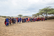 Africa, Tanzania, Maasai tribe an ethnic group of semi-nomadic people. Traditional dance with colorful clothes