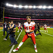 DENVER, CO - OCTOBER 01: Kansas City Chiefs quarterback Patrick Mahomes (15) celebrates after the NFL regular season football game against the Denver Broncos on Monday, Oct. 1, 2018 at Broncos Stadium at Mile High in Denver. (Photo by Ric Tapia/Icon Sportswire)