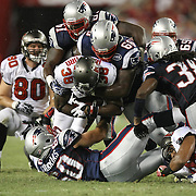 Tampa Bay running back Allen Bradford runs the ball during an NFL football game between the New England Patriots and the Tampa Bay Buccaneers at Raymond James Stadium on Thursday, August 18, 2011 in Tampa, Florida.   (Photo/Alex Menendez)