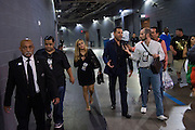 Oscar De La Hoya speaks to the media as he leaves the arena after Canelo Alvarez defeated Liam Smith in front of over 51,000 fans at AT&T Stadium in Arlington, Texas on September 17, 2016.  (Cooper Neill for ESPN)