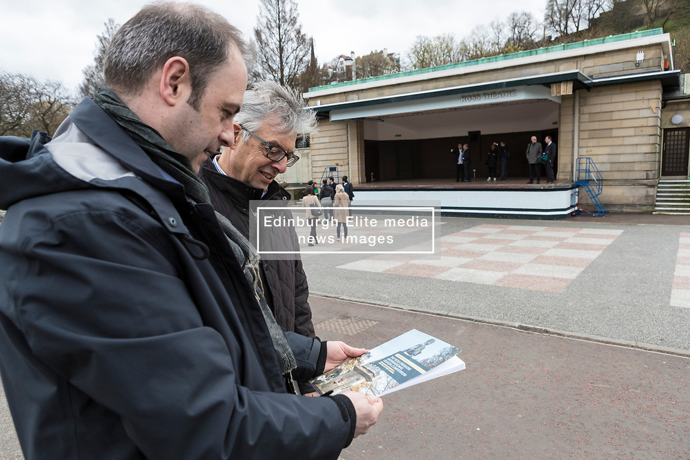 International architects fly in to Edinburgh for their first sight of West Princes Street Gardens as they compete to design a new venue to replace the Ross Bandstand.<br /> <br /> Chair Norman Springford and Project Manager David Ellis from the Ross Development Trust provide visiting teams with a tour of the Gardens and existing Bandstand site.<br /> <br /> A competition to replace the Ross Bandstand in the heart of Edinburgh's West Princes Street Gardens with a new landmark Pavilion has received worldwide interest from architects and designers.<br /> <br /> Entries from 125 teams spanning 22 countries and made of 400 individual firms have been narrowed down to seven finalists. <br /> <br /> The seven finalists will be invited to create concept designs for the £25m project brief, which includes a new landmark venue to replace the bandstand, a visitor centre and subtle updates to West Princes Street Gardens.<br /> <br /> Each of the finalist teams will be led by the following architects:<br /> <br /> - Adjaye Associates (UK)<br /> - BIG Bjarke Ingels Group (Denmark)<br /> - Flanagan Lawrence (UK)<br /> - Page \ Park Architects (UK)<br /> - Reiulf Ramstad Arkitekter (Norway)<br /> - wHY (USA)<br /> - William Matthews Associates (UK) and Sou Fujimoto Architects (Japan)<br /> <br /> Pictured: Members of the project team from Edinburgh Council and Malcolm Reading Consultants in front of the Ross Theatre